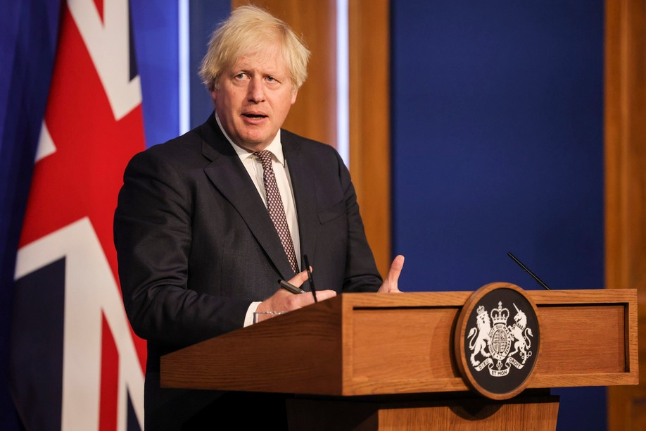 Boris Johnson, UK prime minister, announced the easing of covid-19 restrictions during a press conference, 5 July 2021. Andrew Parsons /  No 10 Downing Street