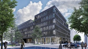 La partie bureaux présente une façade foncée, avec un haut socle vitré. ((Illustration: QuickIT_Steinmetzdemeyer))