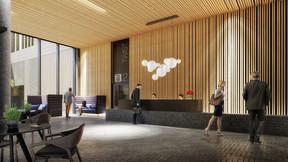 Dans la réception, on trouve un mélange de bois et de briques foncées. ((Illustration:QuickIT_Steinmetzdemeyer))