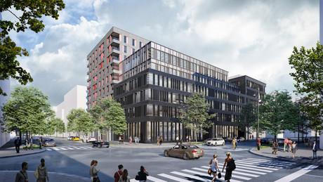 L'expression architecturale du projet Twist permet de différencier l'immeuble de bureaux et la tour de logements. (Illustration: QuickIT_STEINMETZDEMEYER)