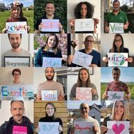 L'équipe Digicash by Payconiq en #workingfromhome avec un petit message de soutien. ((Photo: Digicash by Payconiq / LinkedIn))