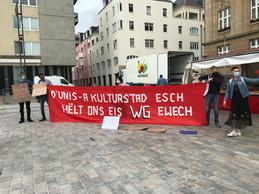 Les manifestants devant l'hôtel de ville militent pour la cohabitation à Esch. ((Photo: Paperjam))
