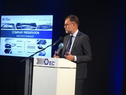 Franz Fayot, the economy minister, is seen speaking at the Euro-Composites facility in Echternach, 10 September 2019. Photo credit: Ministère de l'Économie