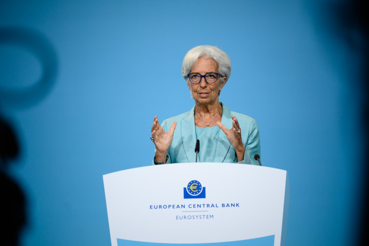 Christine Lagarde, president of the European Central Bank, is seen speaking at a press conference, 22 July 2021. The bank is targeting a 2% inflation rate and said it would even temporarily tolerate a slightly a higher rate. European Central Bank