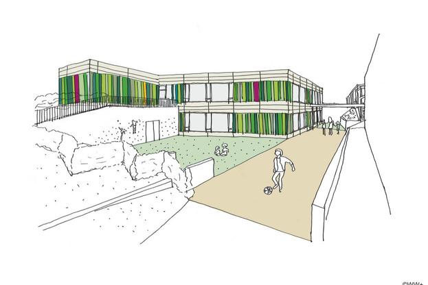 L'école fondamentale de Schouweiler se développera sur deux niveaux. (Illustration : WW+)