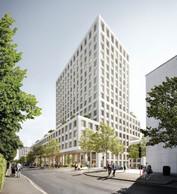 Le projet d'extension se composait à l'époque d'une tour de 16 étages. ((Photo:Baumschlager Eberle + Christian Bauer & Associés Architectes))