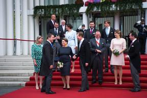 Lydie Polfer (Bourgmestre de la Ville de Luxembourg), Xavier Bettel (Premier ministre), S.A.R. le Grand-Duc Henri, Fernand Etgen (Président de la Chambre des députés), S.A.R la Princesse Stéphanie et S.A.R. le Grand-Duc Héritier Guillaume ((Photo: Nader Ghavami))