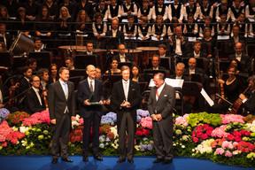 Xavier Bettel (Premier ministre), Michel Wurth (Ancien président de la Chambre de commerce), S.A.R. le Grand-Duc Henri et Fernand Etgen (Président de la Chambre des députés) ((Photo: Nader Ghavami))