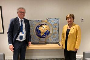 Pierre Gramegna, le ministre des Finances, a animé une table ronde en compagnie de Kristalina Georgieva, la directrice générale du FMI. (Photo: Ministère des Finances)