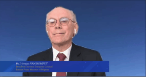 Herman Van Rompuy, former European Council president and former Belgian prime minister, is seen in a screengrab taken during the China–EU Green Economic Cooperation and Development Summit, 8 July 2021. Bank of China Luxembourg