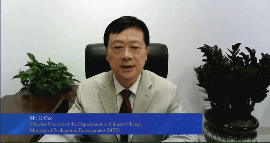 Li Gao, director general of the Department of Climate Change at China's ecology and environment ministry, is seen speaking at an EU–China green finance panel, 8 July 2021. Bank of China Luxembourg