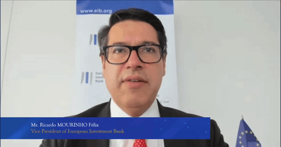 Ricardo Mourinho Felix, vice president at the European Investment Bank, is seen speaking at an EU–China green finance panel, 8 July 2021. Bank of China Luxembourg