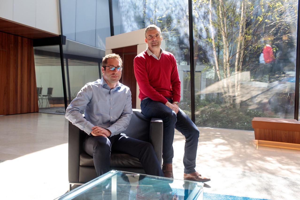 Jonathan Prince (ici en rouge avec Michel Etienne du groupe Foyer), Albert et Georges Berscheid, et Raoul Mulheims ont déjà fait de Finologee une success-story luxembourgeoise  en trois ans . (Photo: Matic Zorman)