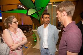 Au centre, Richard Karacian (CEO de Maison Moderne) et Jonas Mercier (Luxinnovation) ((Photo: Anthony Dehez))