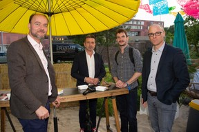 Olivier Debeugny (Lingua Custodia), Thierry Labro, Pierre Pailler et Thierry Raizer (Maison Moderne) ((Photo: Anthony Dehez))