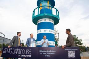 Tom Théobald (Ministère des Finances), Pascal Denis (KPMG), Robert Levine (Uniken) et Nasir Zubairi (CEO de la Lhoft) ((Photo: Anthony Dehez))