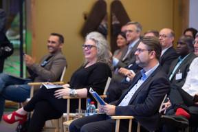 Nasir Zubairi (CEO de la Lhoft) et Ghela Boskovich (Rainmaking Innovation) et Frederic Becker (Ministère de l'Économie) ((Photo: Anthony Dehez))