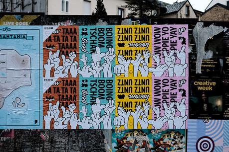 Le projet «Flow» donne carte blanche à quatre graphistes, dont Laurent Daubach, pour la création d'affiches à coller sur des palissades. (Photo: Cercle Cite-Iyoshi Kreutz)