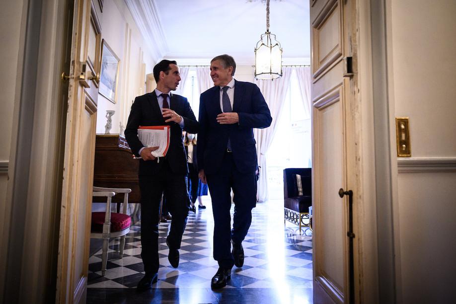 French minister for transport Jean-Baptiste Djebbari and François Bausch at the Hôtel de Roquelaure in Paris on Wednesday.  Manuel Bouquet/Terra