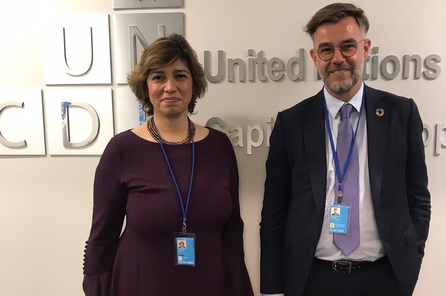 While in New York earlier this week, Franz Fayot met with Preeti Sinha, the new director of the United Nations Capital Development Fund Photo: MAEE