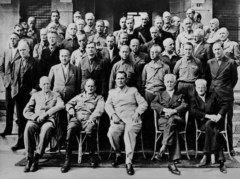 A group photo of Nazi prisoners at the Ashcan prison, the converted Palace Hotel in Bad Mondorf, with the unmistakeable figure of Hermann Göring front centre. Municipality of Bad Mondorf