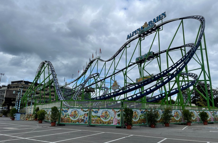 The Alpina Bahn roller coaster, seen at the Fun um Glacis site prior to the funfair opening on 20 August 2021. The event opened on 21 August and runs till 12 September. Photo: Maxime Toussaint / Maison Moderne