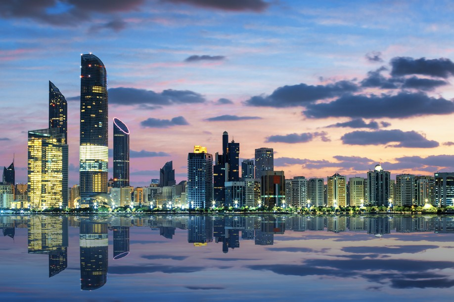 View of Abu Dhabi Skyline at sunset, United Arab Emirates. FundRock is to launch FundRock ME in the Abu Dhabi Global Market, subject to regulatory approval Shutterstock