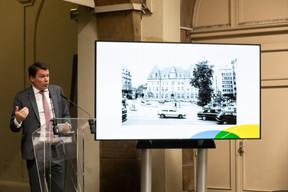 Claude Strasse est revenu sur l'histoire d'un site, la place Hamilius et le boulevard Royal, dont les mutations sucessives reflètent l'évolution du pays et de son économie. (Matic Zorman / Maison Moderne)