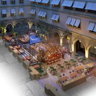 Différentes fonctions graviteront autour de la cour intérieure: un restaurant, un bar, des commerces et l'accueil de l'hôtel. On y trouvera aussi desservices de soin de la personne. (Artea)