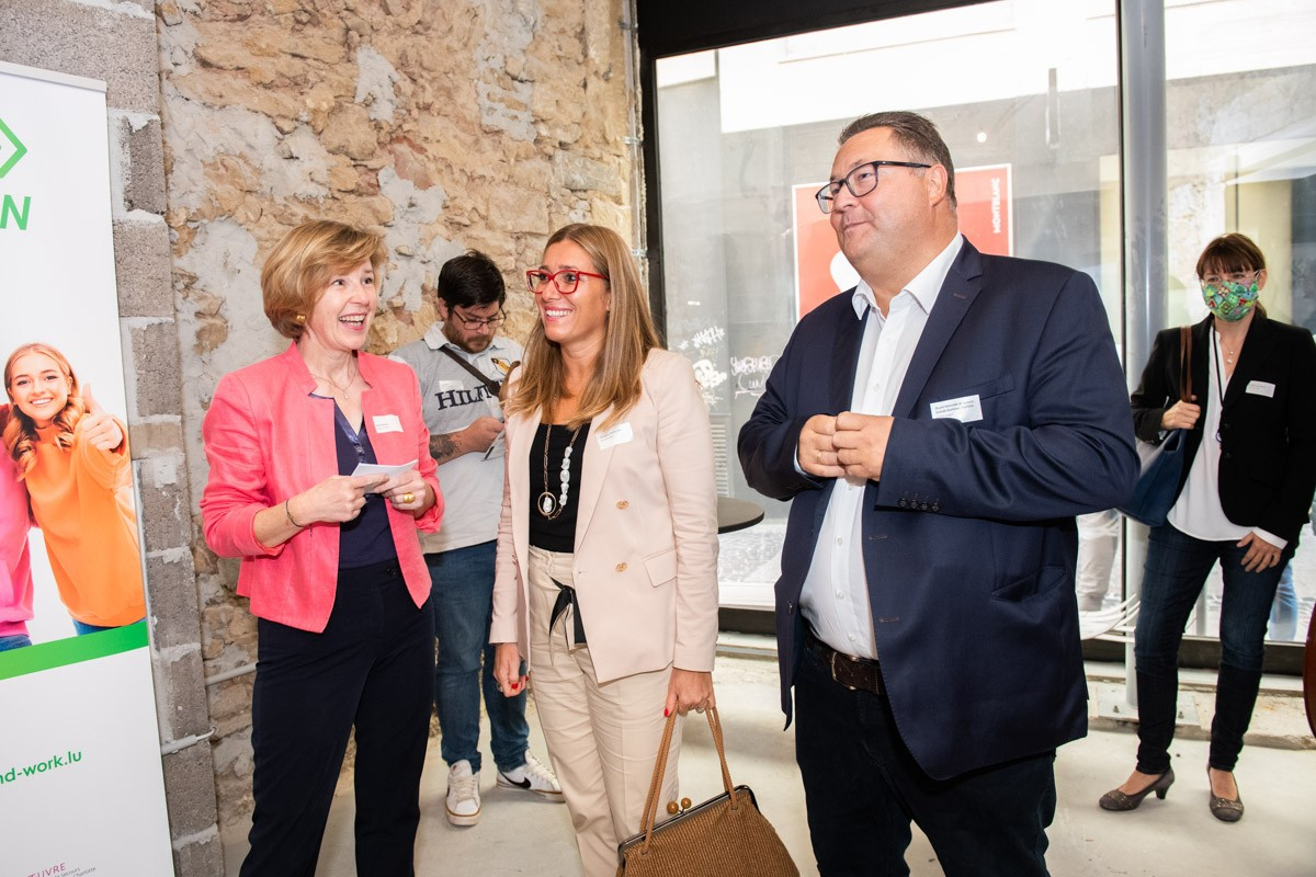 Ariane Toepfer, director of Youth and Work, presented her new programme with Daniela Ragni, from the André Losch Foundation, and Emile Lutgen, from the Oeuvre nationale--Grand Duchess Charlotte national relief service--which co-financed the project. (Photo: Youth and Work)