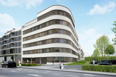 Ce nouvel immeuble de bureaux conçu par Christian Bauer & Associés Architectes va accueillir la CMCM, rue de Hollerich à Luxembourg. (Illustration: Christian Bauer & Associés Architectes)