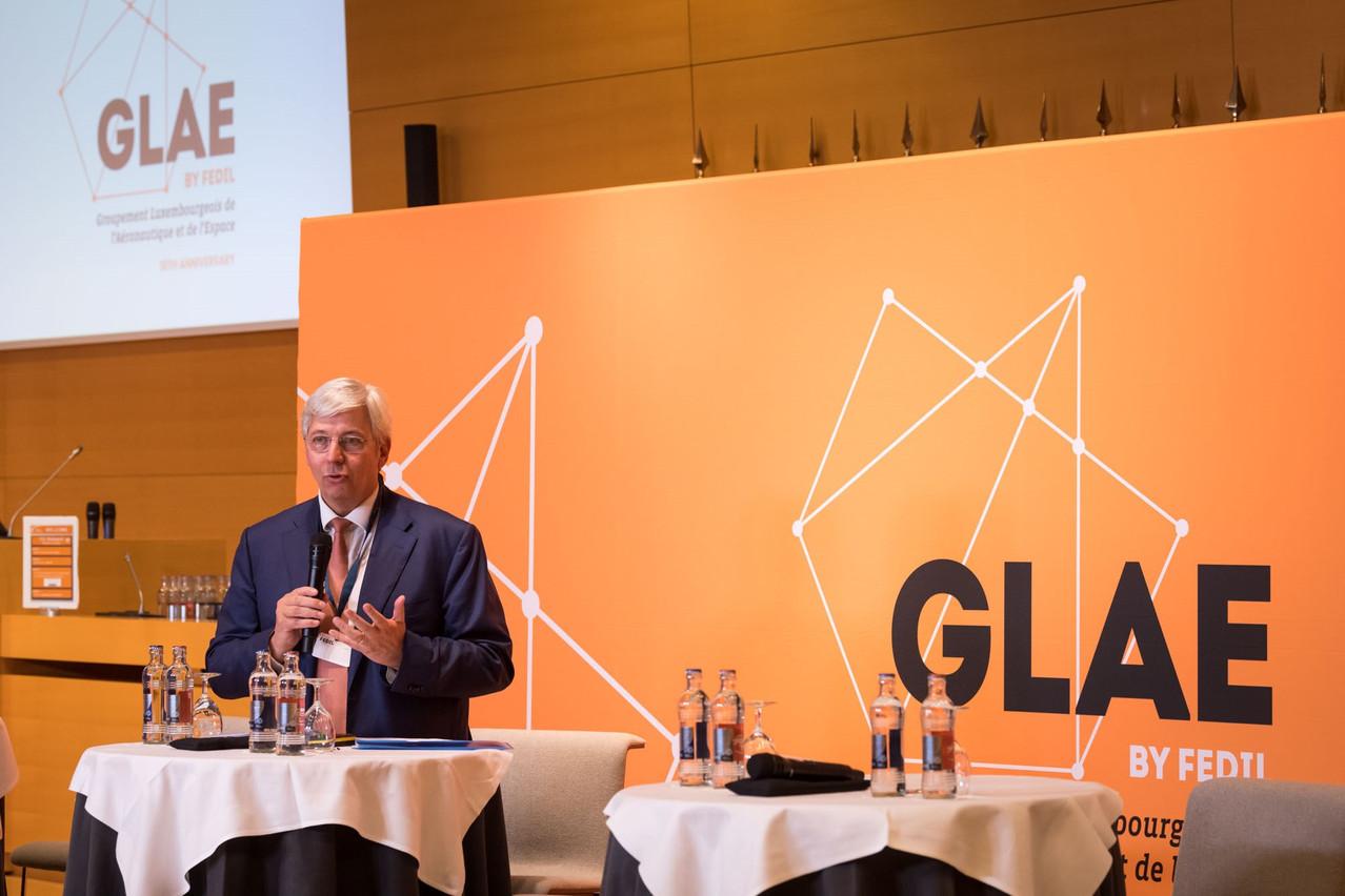 YvesElsen, président du Groupement luxembourgeois de l'aéronautique et de l'espace (GLAE), a rappelé les trois grands défis du secteur qui compte environ 60entreprises pour 840emplois au Luxembourg. (Photo: GLAE)