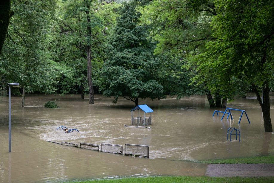 Parc Laval underwater during the July floods Photo. Matic Zorman / Maison Moderne