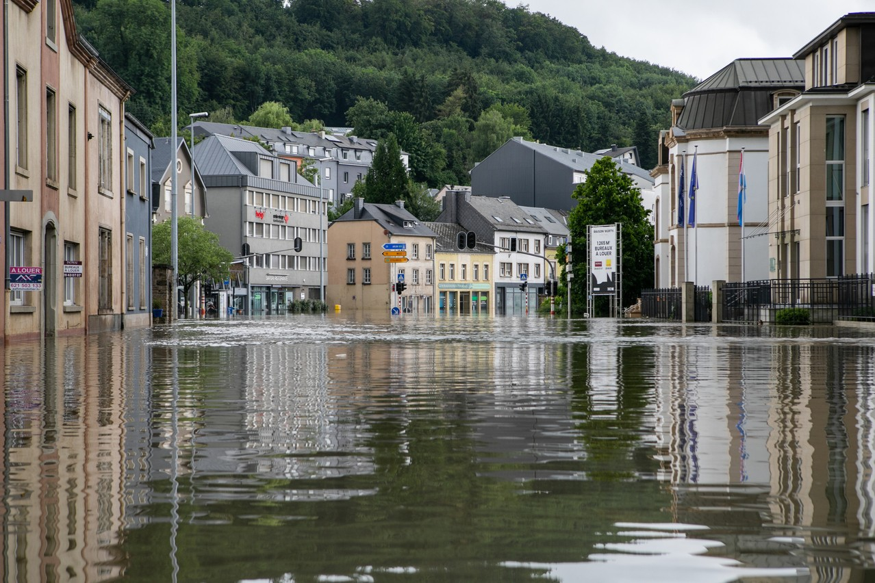 Flooding on Place Dargent in Luxembourg on 15 July Photo: Matic Zorman / Maison Moderne
