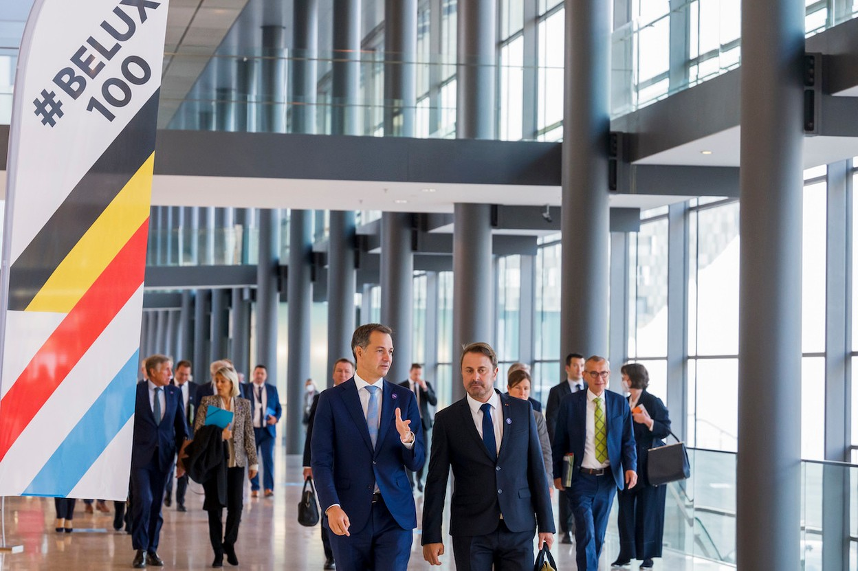 """Luxembourg prime minister Xavier Bettel (DP) hosted his Belgian counterpart Alexander de Croo on Tuesday for the """" Gäichel """" bilateral summit.  SIP / Jean-Christophe Verhaegen"""