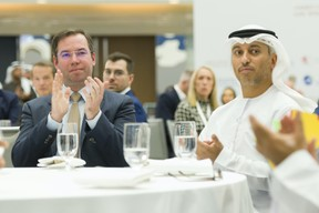 S.A.R. le Grand-Duc héritier; Dr. Ahmad Belhoul Al Falasi, ministre d'État pour l'Enseignement supérieur et président de l'Agence spatiale des Émirats arabes unis. ((Photo: © SIP / Jean-Christophe Verhaegen, tous droits réservés))