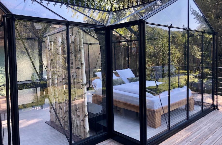"""The """"glass room"""", one of the unusual accommodations at La Grange d'Hélène. Photo: La Grange d'Hélène"""