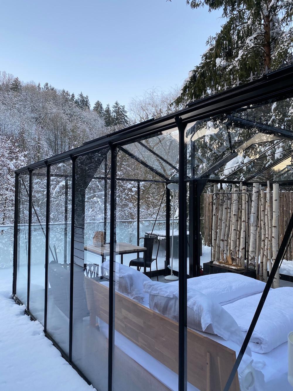 "The ""glass room"" in winter  Photo: La Grange d'Hélène"