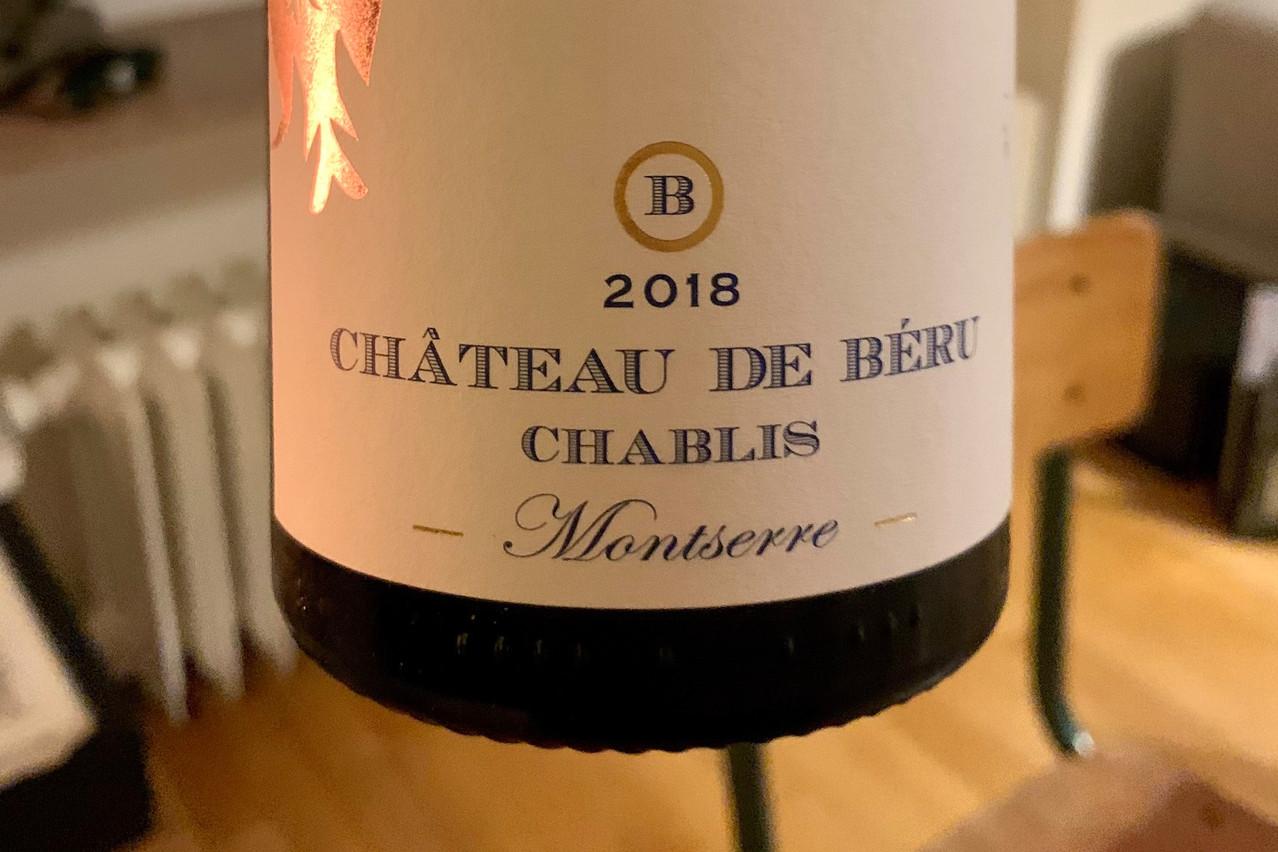 100% plaisir et 0% souffre pour le chablisChâteau de Béru 2018 Montserre, produit par la viticultrice très en vue Athénaïs de Béru. (Photo: Maison Moderne)