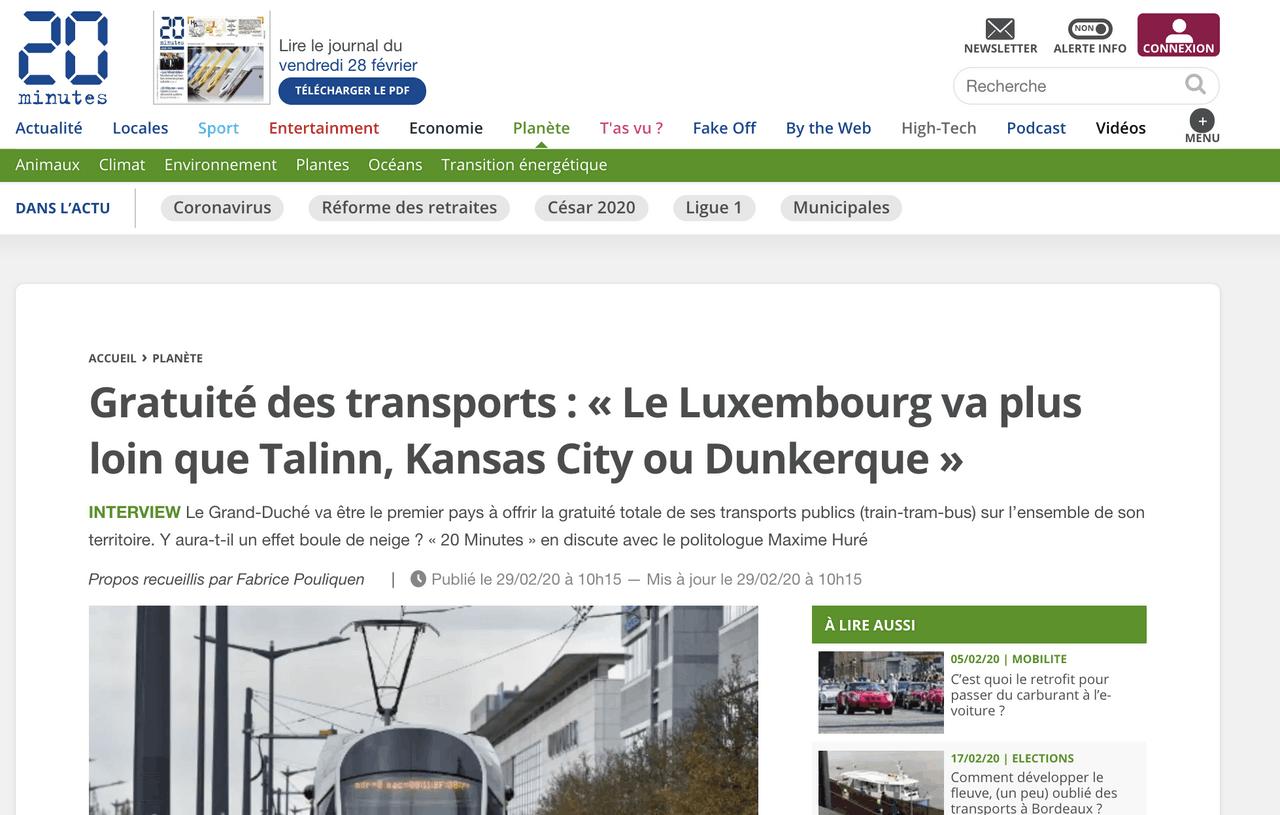 20 Minutes a interviewé pour l'occasion Maxime Huré, politologue et président du comité scientifique de l'Observatoire des villes du transport gratuit. (Photo: 20 Minutes / Capture d'écran)
