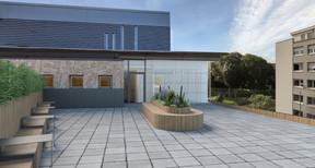Sur le toit, une belle terrasse sera partagée par les usagers de l'immeuble. ((Illustration: Panhard Luxembourg))