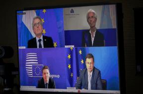Pierre Gramegna intervenait depuis son ministère, tandis que Christine Lagarde s'exprimait depuis Francfort, et Paschal Donohoe et Valdis Dombrovskis depuis Bruxelles. (Laurent Antonelli / Blitz)