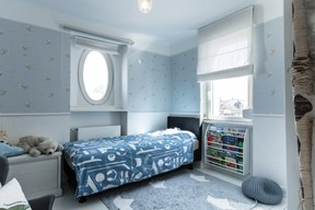 One of the smaller bedrooms, transformed into a children's bedroom, after restoration work was finished. Photo provided by Aatika Hayat