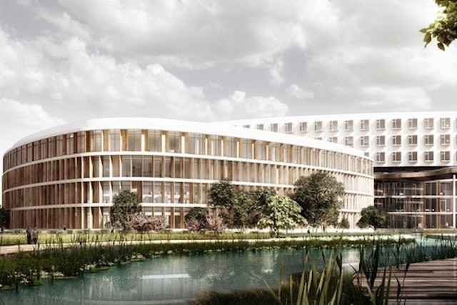 the new Südspidol project, pictured above, which will bring together the hospitals in Dudelange, Esch and Niederkorn Chem