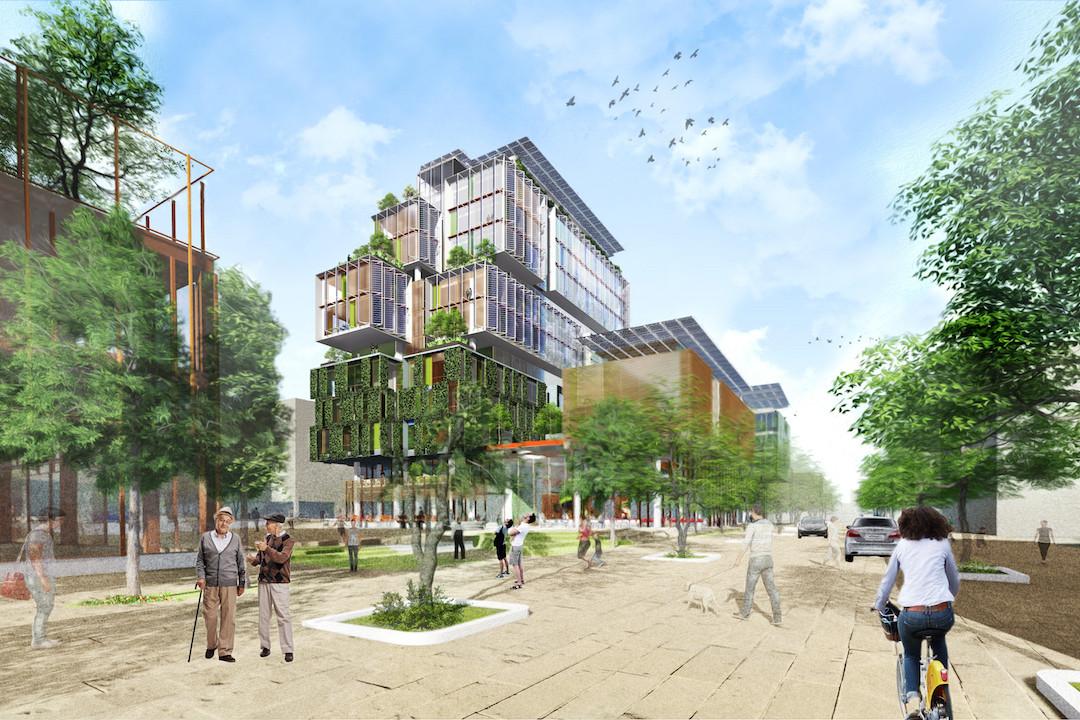 Le projet mixte du Grünewald a été développé par une équipe composée d'architectes-ingénieurs et paysagistes (Temperaturas Extremas Arquitectos, BalliniPitt, SGI, Betic, William McDonough, Areal). (Illustration: Ideas Farmers)