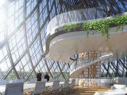 Proposition de Vincent Callebaut Architectures pour le réaménagement de l'Hôtel des Postes à Luxembourg. ((Illustration:Vincent Callebaut Architectures))