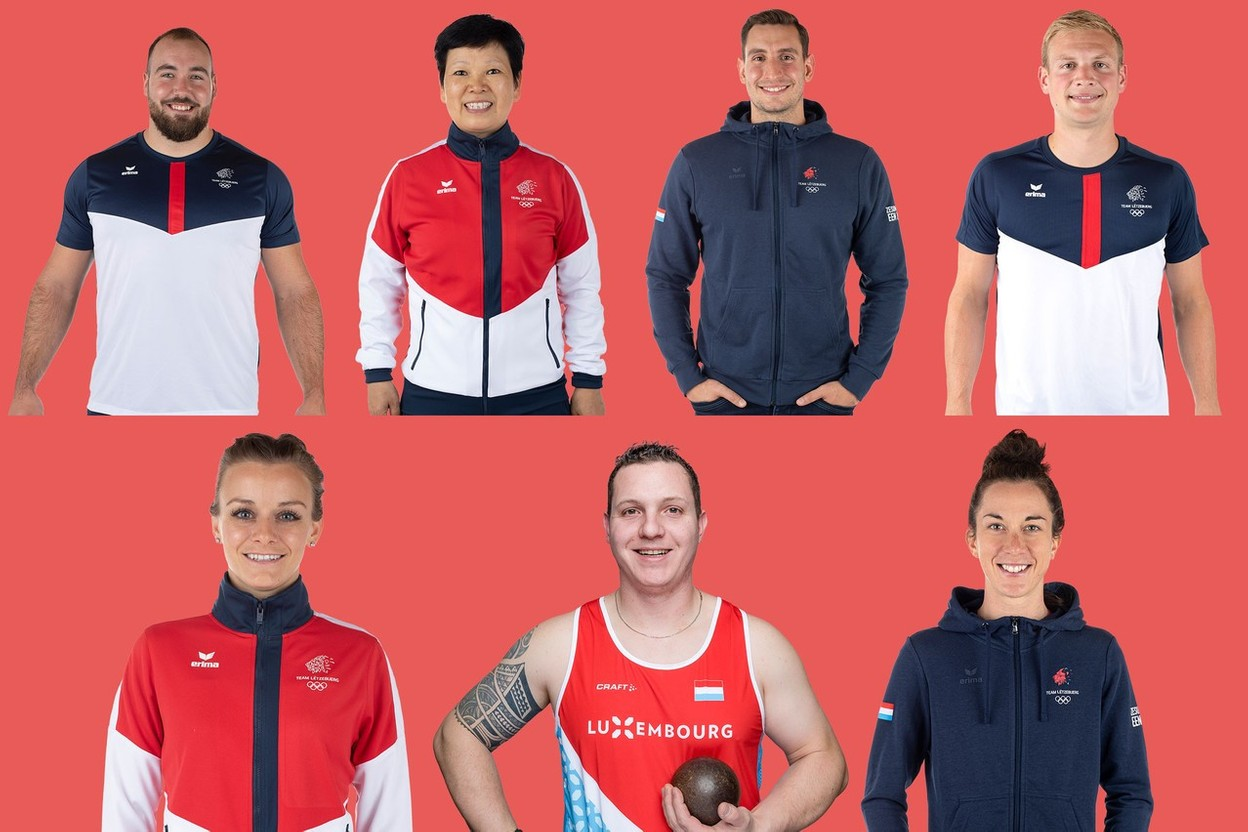 7 of the 13 athletes competing in this year's Olympic Games. Clockwise from left: Bob Bertemes, Ni Xialian,Raphaël Stacchiotti,Nicolas Wagner, Christine Majerus, Tom Habscheid andSarah De Nutte Maison Moderne