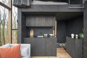 The kitchen area of the Glass Cube.  Ici