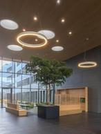 Dans le hall d'entrée, un espace café est à disposition des employés. ((Photo: Belvedere Architecture))