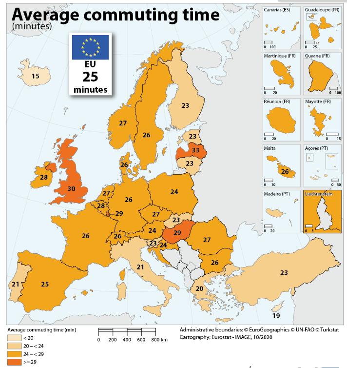 Répartition des temps de trajet domicile-travail dans l'UE. (Photo: Eurostat)